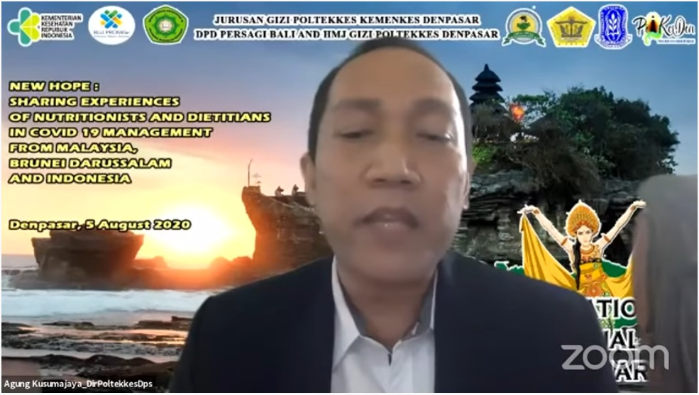 """Internasional Webinar """"New Hope: Sharing Experiences of Nutritionists and Dietitien in Covid 19 Management from Malaysia, Brunei Darussalam, and Indonesia"""", 5 Agustus 2020"""